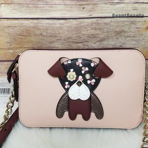 Kate Spade Floral Pup Dog Double Zip Leather bag
